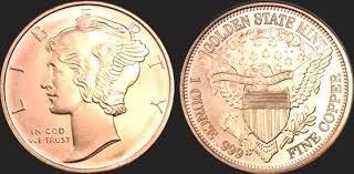 � Mercury Head �1 Ounce Rounds Copper Coin