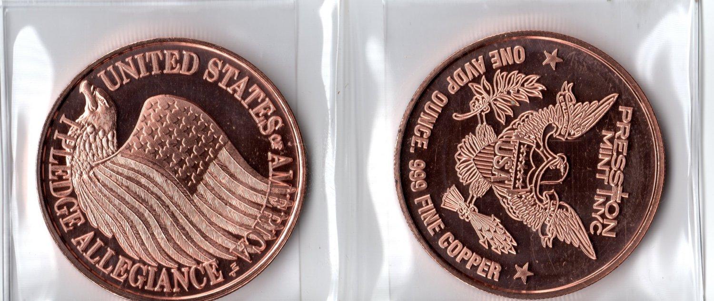 1 Oz Pledge Allegiance Copper Round