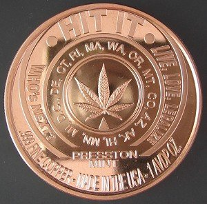 Marijuana Legalize It � Hit It 1 oz copper round