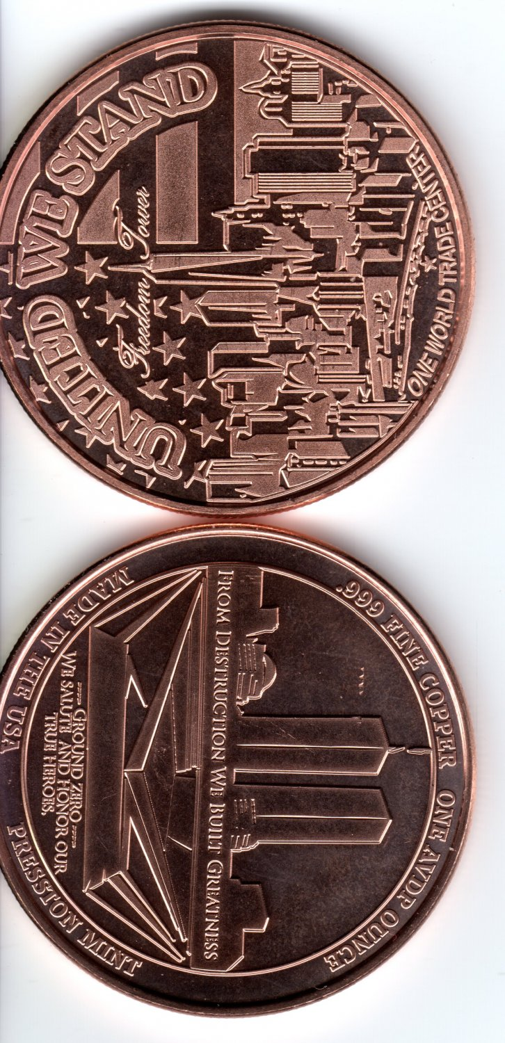Freedom Tower � WTC � 1 Ounce Rounds Copper Coin