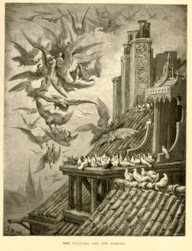 Vulture & The Pigeons, Gustave Dore, antique original engraving
