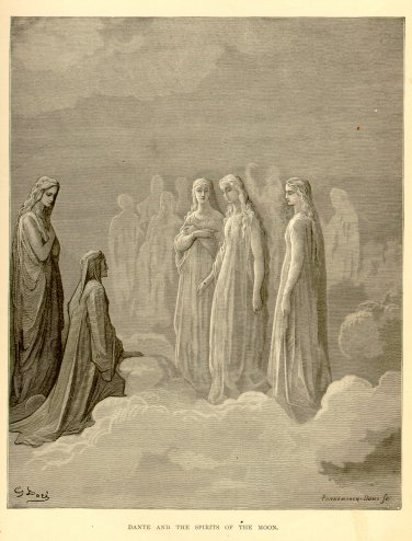 Dante and the Spirits of the Moon, Gustave Dore, 126 year old antique engraving