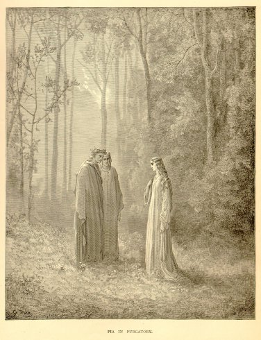 Pia in Purgatory, Gustave Dore, 126 year old antique engraving