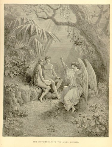 Adam & Eve, Conference with the Angel Raphael, Gustave Dore, 126 year old antique engraving