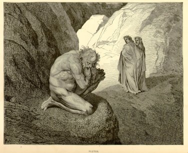 Plutus, Gustave Dore, 126 year old antique engraving