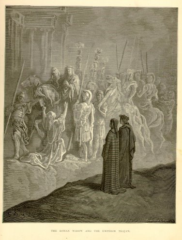 The Roman Widow and the Emperor Trajan, Gustave Dore, 126 year old antique engraving