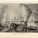 Destruction of the Turkish Fleet at Navarino, 108 year old original antique print