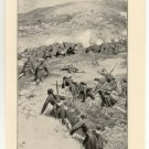 Greek Troops Capturing Mount St. Elias, 108 year old original antique print