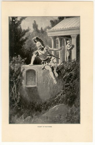 Flight of Miltiades, 108 year old original antique print