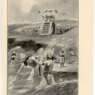 Xerxes Commands the Punishment of the Sea, 108 year old original antique print