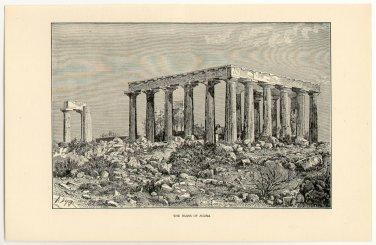The Ruins of Aegina, 108 year old original antique print