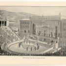 The Dionysiac Theatre at Athens, Restored, 108 year old original antique print
