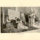 Leo X at Raphael's Bier, 120 year old original antique print