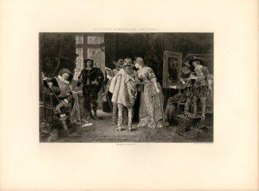 Connoisseurs at Rembrandt's Studio, 120 year old original antique photogravure