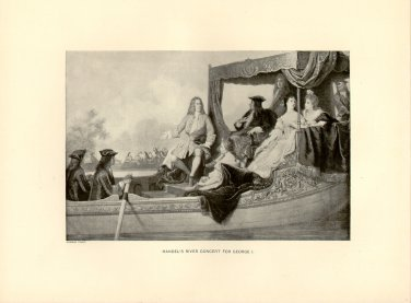 Handel's River Concert for George I, 120 year old original antique print