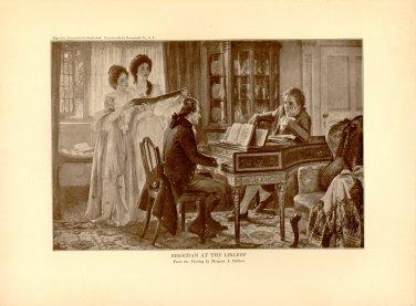 Sheridan at the Linleys', 100 year old original antique print