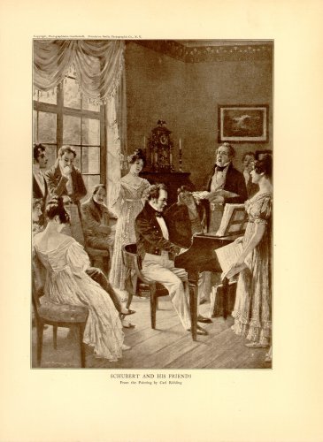 Schubert and His Friends, 100 year old original antique print