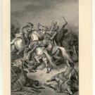 Abraham Defeats the Elamites, 108 year old original antique print