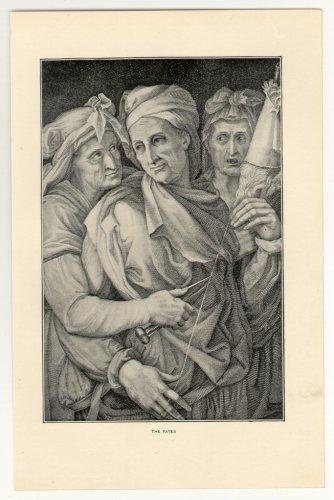 The Fates, 108 year old original antique print