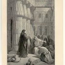 The Egyptians Urge Moses to Depart, 108 year old original antique print