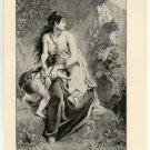 Medea Slaying her Children, 108 year old original antique print