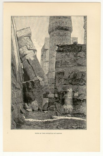 Ruins of the Hypostyle at Karnak, 108 year old original antique print