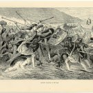 Caesar Landing in Britain, 108 year old original antique print