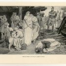 German Women Captured by Caesar's Forces, 108 year old original antique print