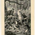 Braddock's Defeat, American Revolutionary War, original antique art print
