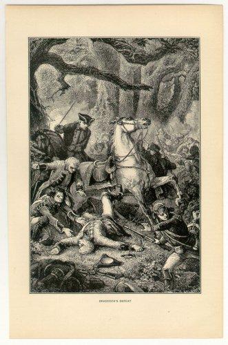 Braddock�s Defeat, American Revolutionary War, original antique art print