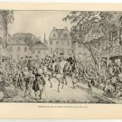 Washington and his Troops Entering New York, 1783, original antique art print