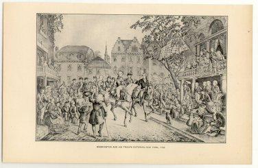 Washington and his Troops Entering New York, 1783, original antique art print