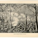 General Harrison's Charge at Tippecanoe, original antique art print