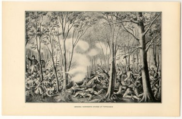 General Harrison�s Charge at Tippecanoe, original antique art print