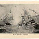 "The ""United States"" Capturing the ""Macedonia"", original antique art print"