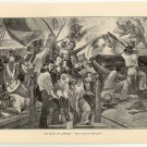 "The Death of Lawrence, ""Don't Give up the Ship"", original antique art print"