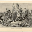 General Scott at the Battle of Contreras, original antique art print