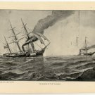 "The Sinking of the ""Alabama"", original antique art print"