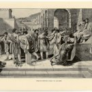 Brutus Refusing Mercy to his Sons, 108 year old original antique print