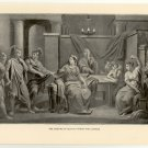 The Meeting of Sextus Tarquin and Lucrece, 108 year old original antique print