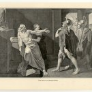 The Death of Demosthenes, 108 year old original antique print