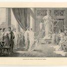 Pericles and Aspasia at the Studio of Phidias, 108 year old original antique print