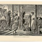 Alcibiades Interrupting The Banquet of Agathon, 108 year old original antique print