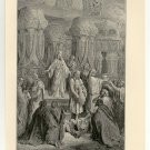 Cyrus Restoring the Sacred Vessels, 108 year old original antique print