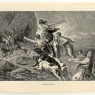 Amazons Hunting, 108 year old original antique print