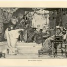 Esther before Ahasuerus, 108 year old original antique print