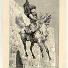 The Leap of Emim Bey, 108 year old original antique print