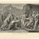 Scipio Yields the Spanish Princess to her Lover, 108 year old original antique print