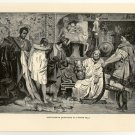Carthaginian Merchants in a Roman Villa, 108 year old original antique print