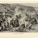 A Bull Fight in the Roman Arena, 108 year old original antique print